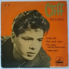 Discos de vinilo: CLIFF RICHARD. LIVING DOLL/ BLUE SUEDE SHOES/ THE SNAKE & THE BOOKWORN/ I GOTTA KNOW. MASTERVOICE 60. Lote 218845128