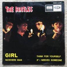 Discos de vinilo: THE BEATLES - GIRL - E.P. EDICIÓN ESPAÑOLA AÑO 1966 (DSOE 16.690). Lote 218876558