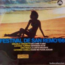 Discos de vinilo: FESTIVAL DE SAN REMO 66.CATERINA CASELLI.GIGLIOLA CINQUETTI. GINO PAOLI... DIO COME TI AMO + 3. EP. Lote 218952560