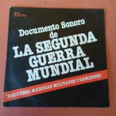 Discos de vinilo: DOCUMENTO SONORO DE LA SEGUNDA GUERRA MUNDIAL. DISCURSOS, MARCHAS MILITARES Y CANCIONES.. Lote 219039678
