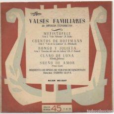 Discos de vinilo: VALSES FAMILIARES DE OPERAS FAVORITAS / EP COLUMBIA / MUY BUEN ESTADO RF-4571. Lote 219098776