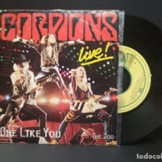 Discos de vinilo: SCORPIONS NO ONE LIKE YOU - LIVE SINGLE SPAIN 1985 PDELUXE. Lote 219137481