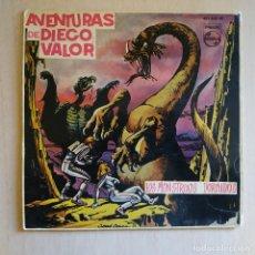Discos de vinilo: LAS AVENTURAS DE DIEGO VALOR - LOS MONSTRUOS DORMIDOS DE JARBER -RARO SINGLE COLOR ROJO PHILIPS 1962. Lote 219197730