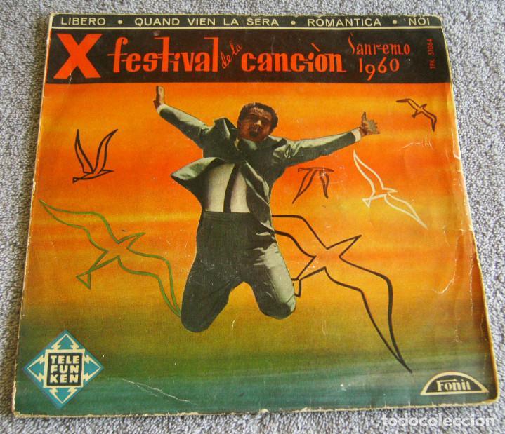 X FESTIVAL DE LA CANCION SAN REMO 1960 - EP - LIBERO + 3 (Música - Discos de Vinilo - EPs - Otros Festivales de la Canción)