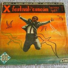 Discos de vinilo: X FESTIVAL DE LA CANCION SAN REMO 1960 - EP - LIBERO + 3. Lote 219229005