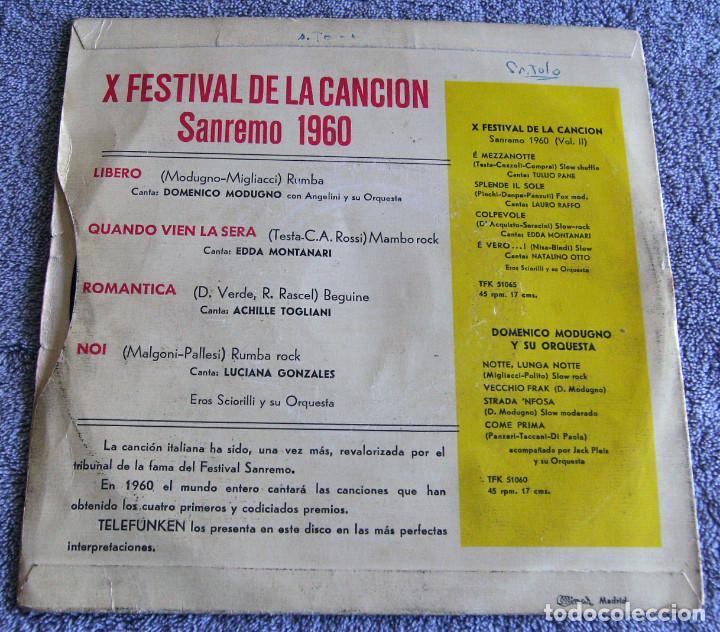 Discos de vinilo: X FESTIVAL DE LA CANCION SAN REMO 1960 - EP - LIBERO + 3 - Foto 5 - 219229005