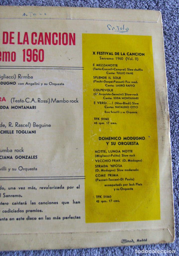 Discos de vinilo: X FESTIVAL DE LA CANCION SAN REMO 1960 - EP - LIBERO + 3 - Foto 6 - 219229005