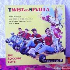 Discos de vinilo: THE ROCKING BOYS-TWIST EN SEVILLA-UNA RUBIA DE MIEDO EP VINILO BELTER DEL AÑO 1962. Lote 219240721
