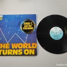 Discos de vinilo: 0920- THE WORLD TURNS ON EDDIE C & SOULBAND MAXI ES 1985 VIN POR VG + DIS NM. Lote 219296510