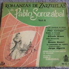 Discos de vinilo: PABLO SOROZÁBAL - ROMANZAS DE ZARZUELAS - EP - LA DEL MANOJO DE ROSAS + 3 - AÑO 1959. Lote 219335316