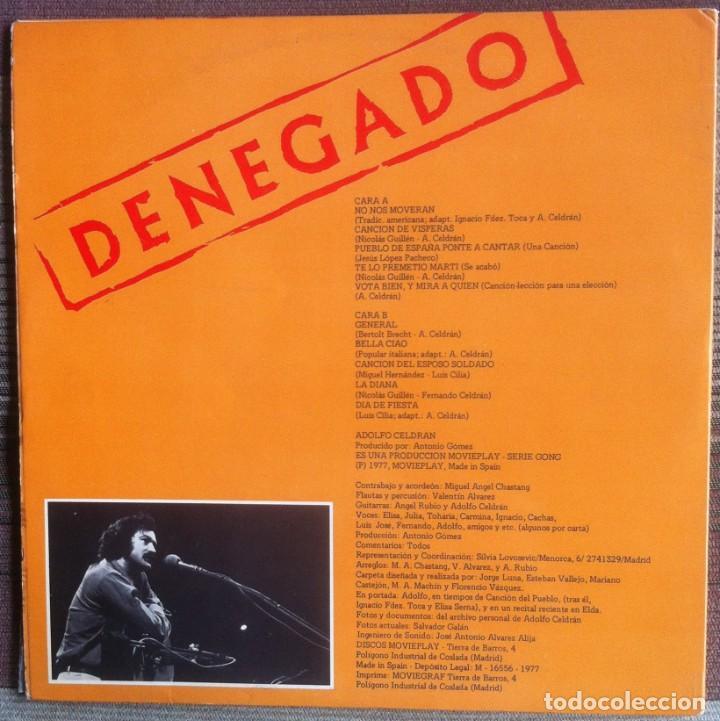 Discos de vinilo: Adolfo Celdrán - Denegado - LP - Movieplay/Gong 1977 - Edición española original. EX - Foto 2 - 219343873