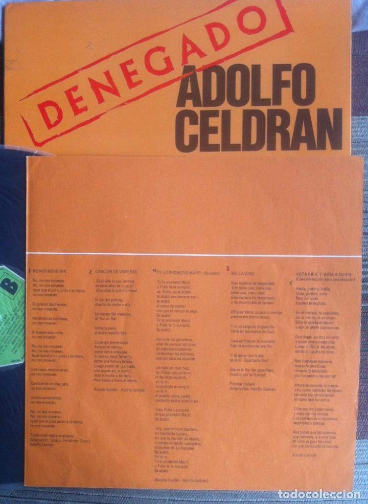 Discos de vinilo: Adolfo Celdrán - Denegado - LP - Movieplay/Gong 1977 - Edición española original. EX - Foto 5 - 219343873