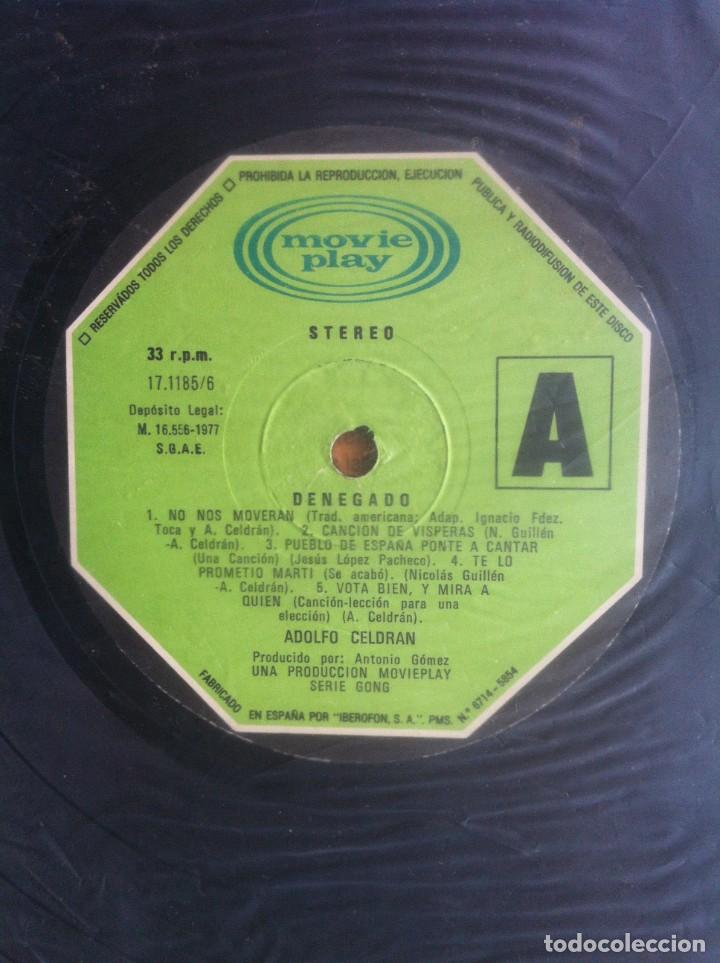 Discos de vinilo: Adolfo Celdrán - Denegado - LP - Movieplay/Gong 1977 - Edición española original. EX - Foto 8 - 219343873