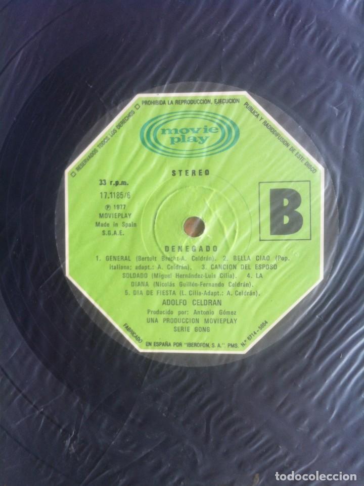 Discos de vinilo: Adolfo Celdrán - Denegado - LP - Movieplay/Gong 1977 - Edición española original. EX - Foto 9 - 219343873