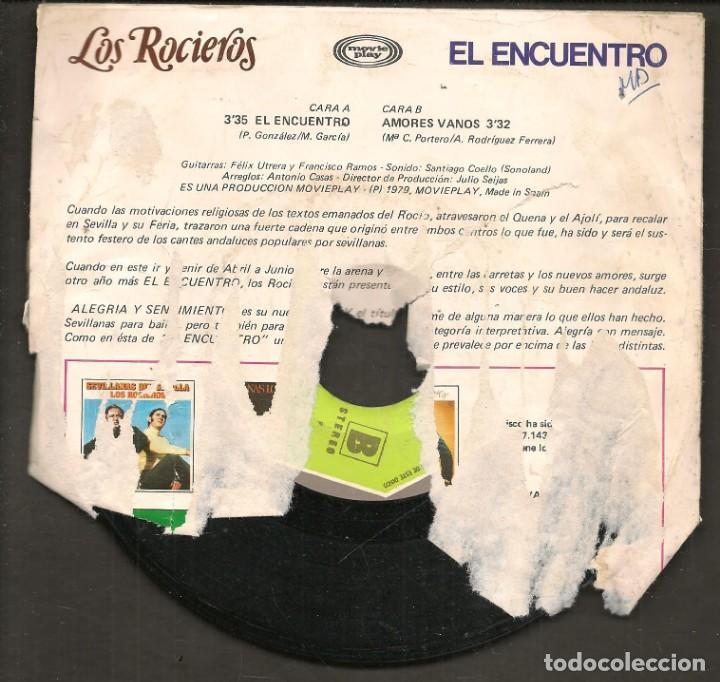 Discos de vinilo: DISCOS SINGLES VINILO: LOS ROCIEROS. SEVILLANAS EL ENCUENTRO. (P/B72.C2) - Foto 2 - 219397370
