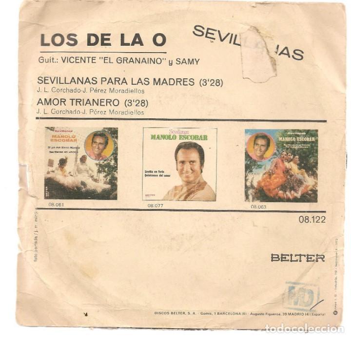 Discos de vinilo: DISCOS SINGLES VINILO: LOS DE LA O. SEVILLANAS PARA LAS MADRES. (P/B72.C2) - Foto 2 - 219397743