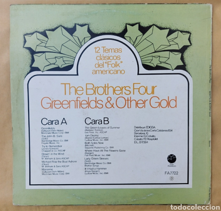 Discos de vinilo: Lp The brothers four - Green & other gold - Foto 2 - 219440876
