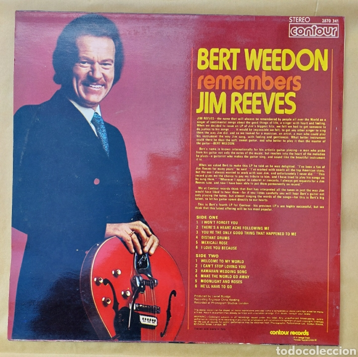 Discos de vinilo: Lp Bert Weedon - Remember Jim Reeves - 1973 - Edic. Italiana - Foto 2 - 219441951