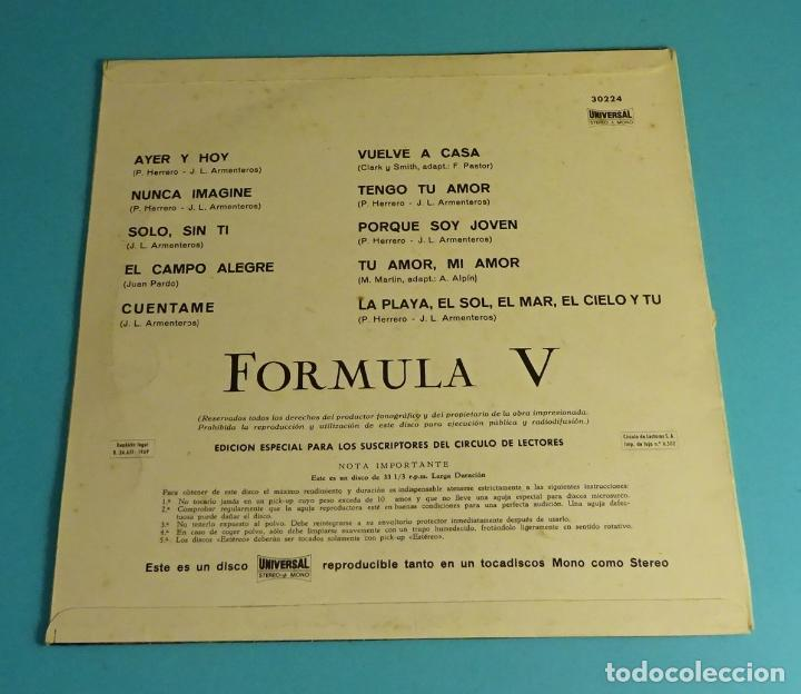 Discos de vinilo: FÓRMULA V. UNIVERSAL 1969. LP DE 10 PULGADAS - Foto 2 - 219445455