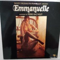 Dischi in vinile: EMMANUELLE- BANDE ORIGINALE DU JUST JAECKIN FILM (BANDA SONORA)- FRENCH LP 1974- VINILO EXC. ESTADO. Lote 219464042