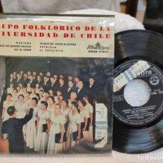 Discos de vinilo: EPE GRUPO FOLKLÓRICO DE LA UNIVERSIDAD DE CHILE 1959. Lote 219523488