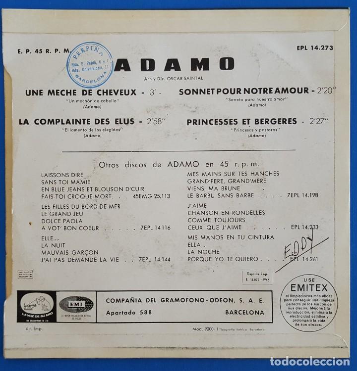 Discos de vinilo: EP / ADAMO, UNE MECHE DE CHEVEUX, La Voz De Su Amo ?– EPL 14.273, 1966 - Foto 2 - 219615198