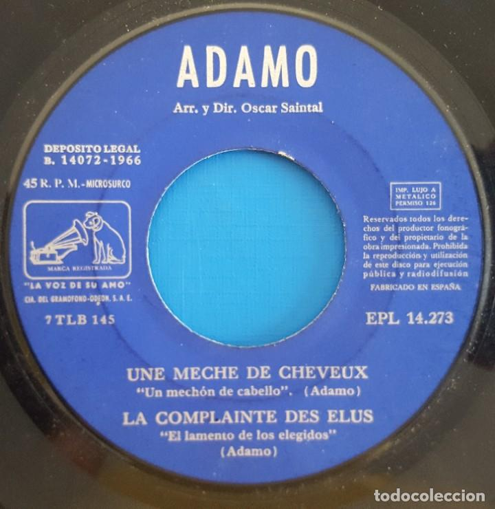 Discos de vinilo: EP / ADAMO, UNE MECHE DE CHEVEUX, La Voz De Su Amo ?– EPL 14.273, 1966 - Foto 3 - 219615198