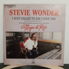 Discos de vinilo: STEVIE WONDER. I JUST CALLED TO SAY I LOVE YOU. LA MUJER DE ROJO. BANDA SONORA.. Lote 219667480