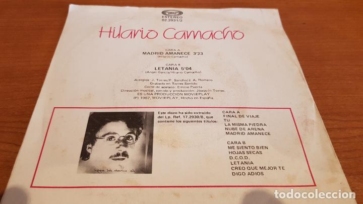 Discos de vinilo: HILARIO CAMACHO / MADRID AMANECE / SINGLE - MOVIE PLAY-1982 / MBC. ***/*** - Foto 2 - 219846097