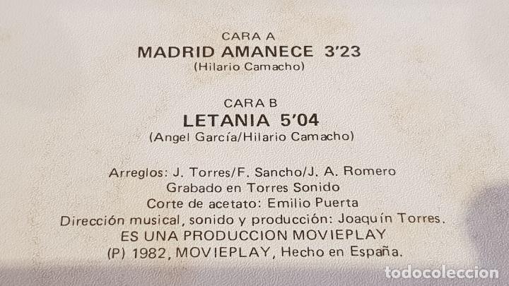 Discos de vinilo: HILARIO CAMACHO / MADRID AMANECE / SINGLE - MOVIE PLAY-1982 / MBC. ***/*** - Foto 3 - 219846097