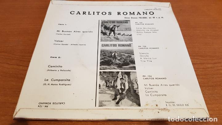 Discos de vinilo: CARLITOS ROMANO / MI BUENOS AIRES QUERIDO / EP - PALOBAL-1967 / IMPECABLE. - Foto 2 - 219846925