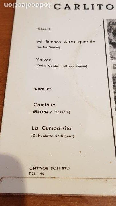 Discos de vinilo: CARLITOS ROMANO / MI BUENOS AIRES QUERIDO / EP - PALOBAL-1967 / IMPECABLE. - Foto 3 - 219846925