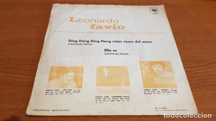 Discos de vinilo: LEONARDO FAVIO / DING DONG DING DONG / SINGLE - CBS-1969 / MBC. ***/*** - Foto 2 - 219847795