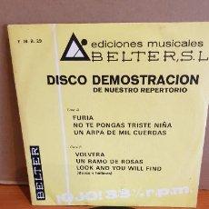 Discos de vinilo: DISCO DEMOSTRACIÓN / EDICIONES MUSICALES BELTER / EP - 1972 / 33 R.P.M. / CONTIENE 6 TEMAS. MBC. ***. Lote 219849260