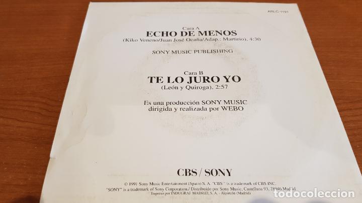 Discos de vinilo: MARTIRIO / ECHO DE MENOS / SINGLE-PROMO - CBS-1991 / IMPECABLE. ****/**** - Foto 2 - 219849745