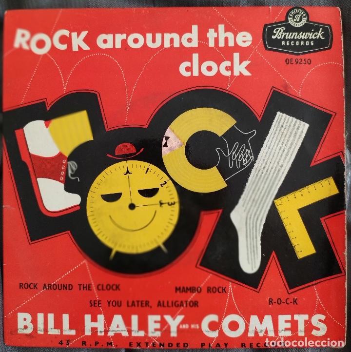 BILL HALEY AND HIS COMETS - ROCK AROUND THE CLOCK. EP BRUNSWICK. EDICIÓN UK 1956 (Música - Discos de Vinilo - EPs - Rock & Roll)