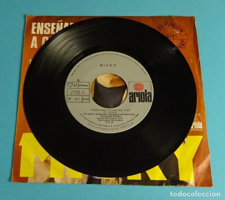 Discos de vinilo: MICKY. ENSEÑAME A CANTAR / PROFUNDAMENTE. EUROVISIÓN 1977 - Foto 3 - 220113123