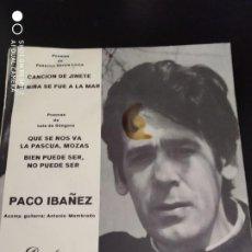 Discos de vinilo: DISCO SINGLE PACO IBAÑEZ CANCION DE JINETE, POEMAS LORCA Y LUIS DE GOMGORA 1969. Lote 220137142