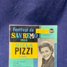 Discos de vinilo: DISCO 45 RPM RCA FESTIVAL SAN REMO 1958 NILA PIZZI CANTA. Lote 220140505