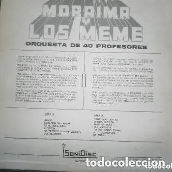 Discos de vinilo: ANTIGUO LP MORAIMA Y LOS MEME ORQUESTA 40 PROFESIONALES - ALIVIO - SONIDISC - Foto 2 - 220185047