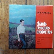 Discos de vinilo: LUIS AMILIBIA - CHANTS BASQUES MODERNES - GALDEZKA ARI NAIZ SARRITAN + GABON, MAITE + MARIA + LURBIR. Lote 220194140
