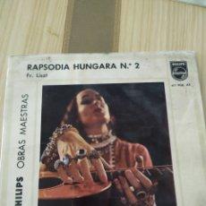 Discos de vinilo: RAPSODIA HÚNGARA N2 1964, 7 PULGADAS. Lote 220355470
