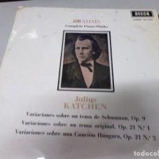Discos de vinilo: BRAHMS COMPLETE PIANO WORKS , JULIUS KATCHEN. Lote 220368001