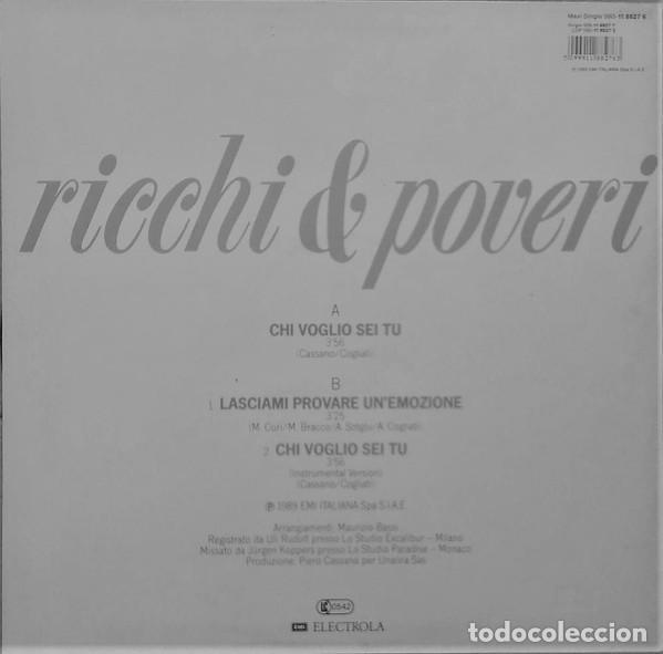 Discos de vinilo: RICCHI E POVERI – CHI VOGLIO SEI TU, MAXI-SINGLE EUROPE 1989 - Foto 2 - 220704058