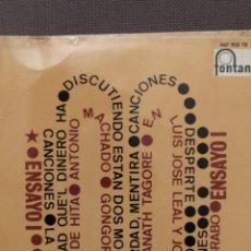 Discos de vinilo: JOSE LUIS LEAL Y JOSE MANUEL BRABO (CACHAS DE MUSICA DISPERSA) ENSAYO 1 FONTANA 1967. Lote 220837783