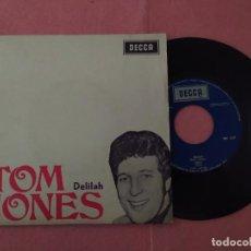 "Discos de vinilo: 7"" TOM JONES – DELILAH / SMILE / YESTERDAY / GET READY - DECCA PEP 1237 - PORTUGAL PRESS (EX-/EX). Lote 220935797"