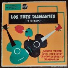 Discos de vinilo: LOS TRES DIAMANTES Y RITMO - CAMINO VERDE + 3 - EP 1957. Lote 221000603
