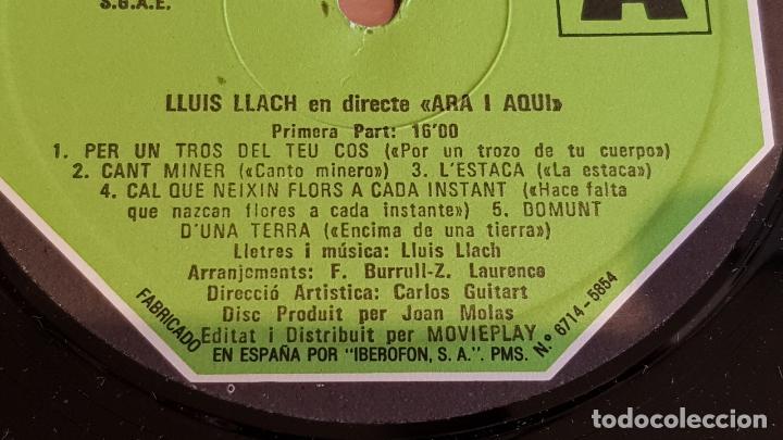 Discos de vinilo: LLUÍS LLACH / ARA I AQUÍ / LP - MOVIE PLAY-1973 / MBC. ***/*** - Foto 3 - 221078886