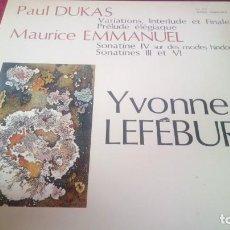 Discos de vinilo: PAUL DUKAS. YVONNE LEFÉBURE. FY. Lote 221246642