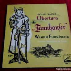 Discos de vinilo: WAGNER - OBERTURA DE TANNHAUSER - WILHELM FURWANGLER - ORQUESTA FILARMONICA DE VIENA. Lote 221276491
